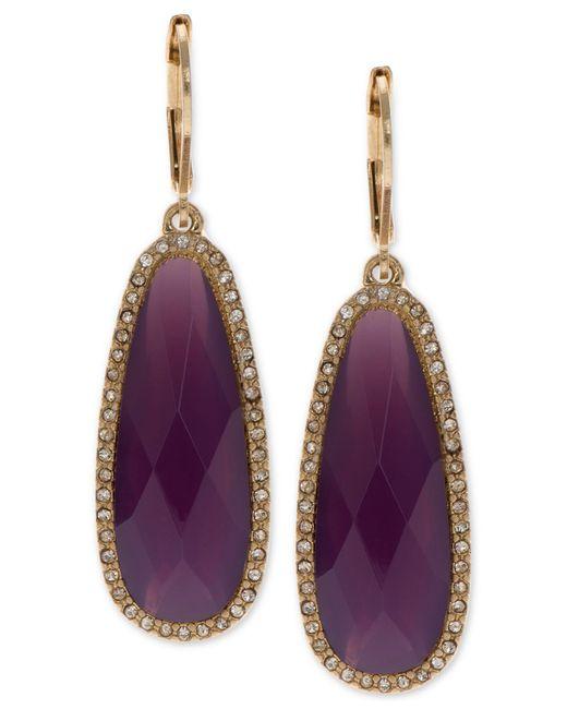 Lonna & Lilly - Purple Large Stone Drop Earrings - Lyst
