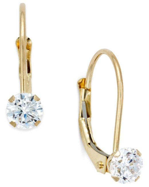 Macy's - Metallic Cubic Zirconia Leverback Drop Earrings (1/2 Ct. T.w.) In 10k Gold - Lyst