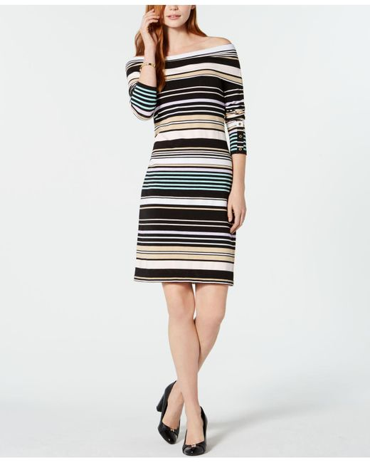 d03ca45db4a8 Lyst - Tommy Hilfiger Striped Off-the-shoulder Bodycon Dress ...