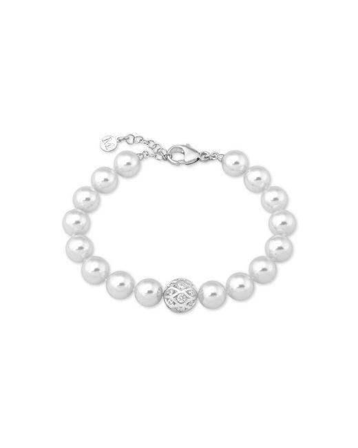Majorica - White Sterling Silver Pavé Bead & Imitation Pearl Link Bracelet - Lyst