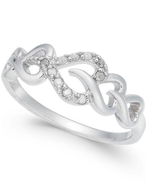 Macy's - Metallic Diamond Heart Ring (1/10 Ct. T.w.) In Sterling Silver - Lyst