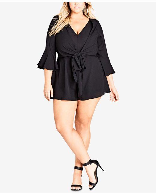 City Chic - Black Trendy Plus Size Tie-waist Romper - Lyst