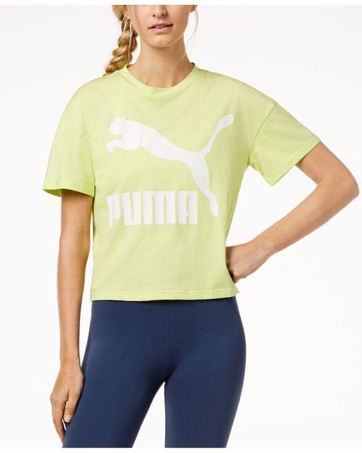 PUMA - Yellow Classic Logo Tee - Lyst