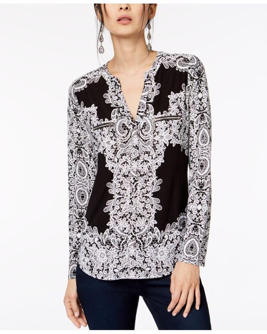 INC International Concepts - Multicolor Petite Printed Zip-pocket Top, Only At Macy's - Lyst