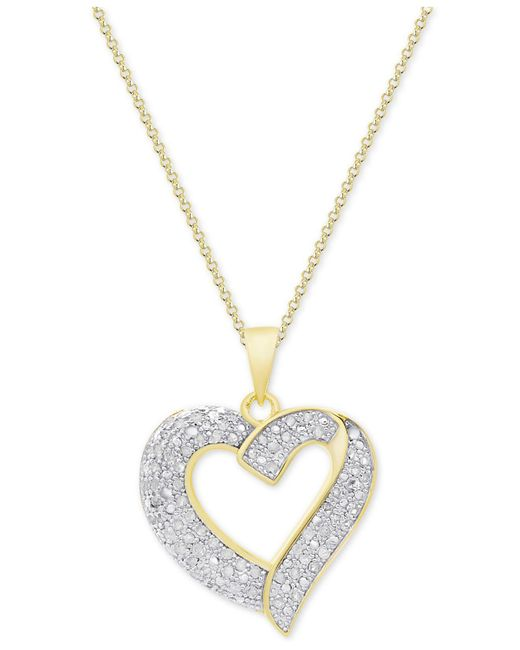 Macy's | Metallic Diamond Heart Pendant Necklace (1/2 Ct. T.w.) In Sterling Silver | Lyst
