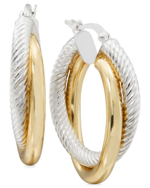 Macy's - Metallic Two-tone Textured Overlapped Hoop Earrings In Sterling Silver And 14k Gold-plate - Lyst