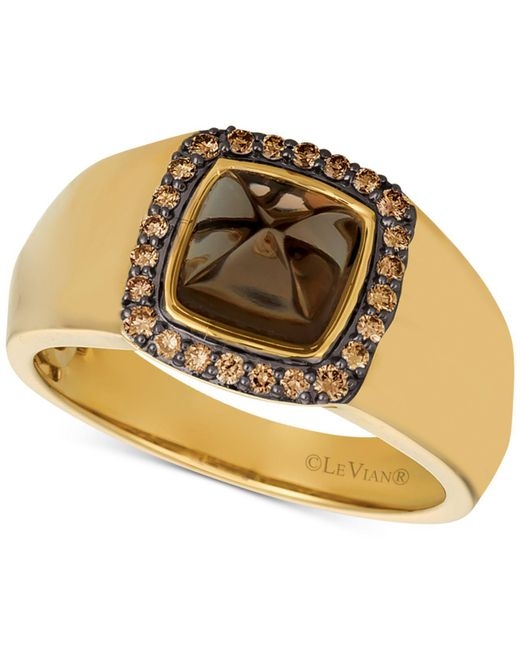 Le Vian - Metallic Men's Chocolate Quartz® (2-3/8 Ct. T.w.) & Diamond (1/4 Ct. T.w.) Ring In 14k Gold for Men - Lyst