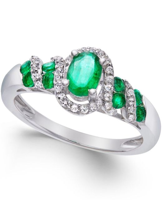 Macy's | Green Ruby (7/8 Ct. T.w.) And Diamond (1/6 Ct. T.w.) Twist Ring In Sterling Silver | Lyst