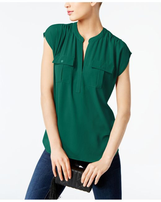 INC International Concepts | Green Dolman-sleeve Mixed-media Utility Shirt | Lyst