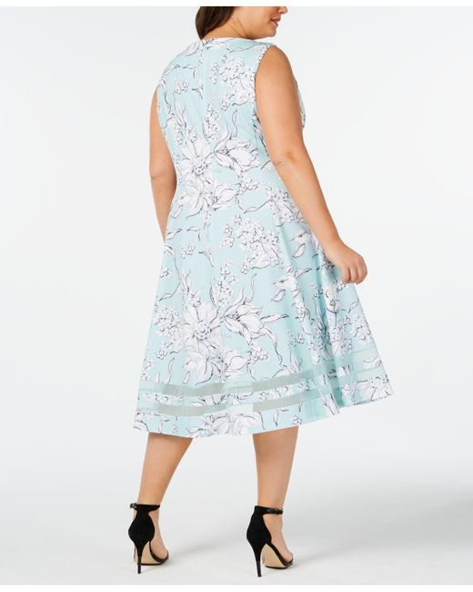 7559fcb079 Calvin Klein Plus Size Floral Midi Fit   Flare Dress in Blue - Lyst