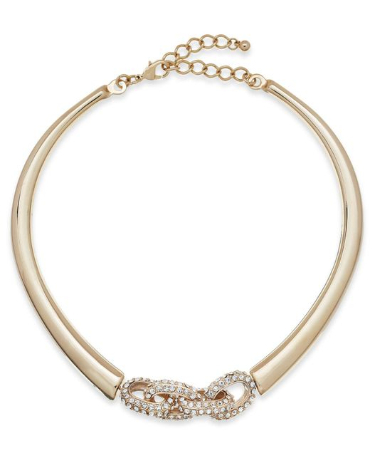 INC International Concepts | Metallic Gold-tone Crystal Link Collar Necklace | Lyst