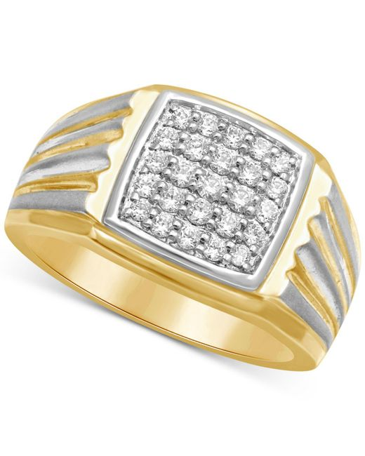 Macy's | Metallic Men's Diamond Two-tone Ring (1/2 Ct. T.w.) In 10k Gold & White Rhodium Plated Over 10k Gold for Men | Lyst