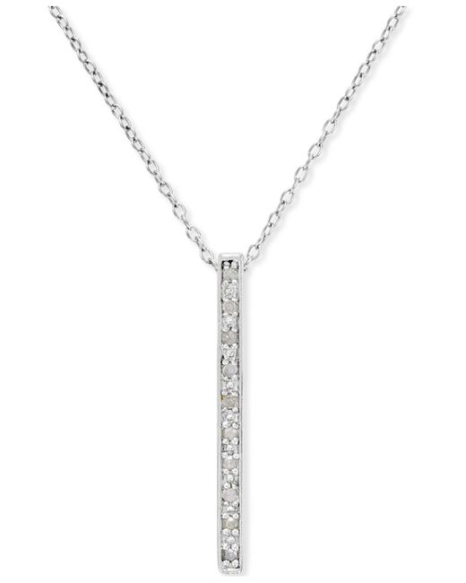 Macy's - Metallic Diamond Bar Pendant Necklace (1/10 Ct. T.w.) In Sterling Silver - Lyst