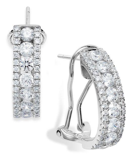 Arabella | Metallic Sterling Silver Swarovski Zirconia Three-row Hoop Earrings (4 Ct. T.w.) | Lyst