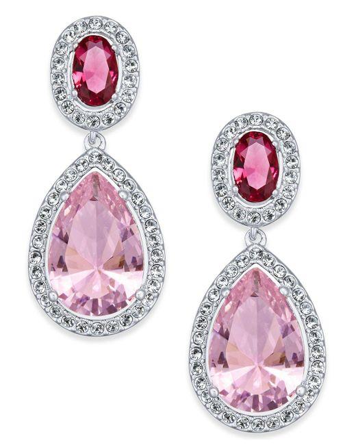 Danori | Pink Silver-tone Crystal Teardrop Drop Earrings | Lyst
