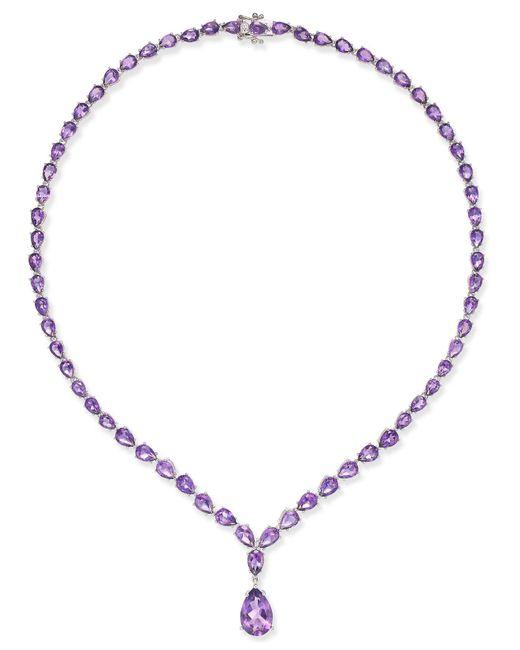 Macy's - Metallic Amethyst Statement Necklace (28 Ct. T.w.) In Sterling Silver - Lyst