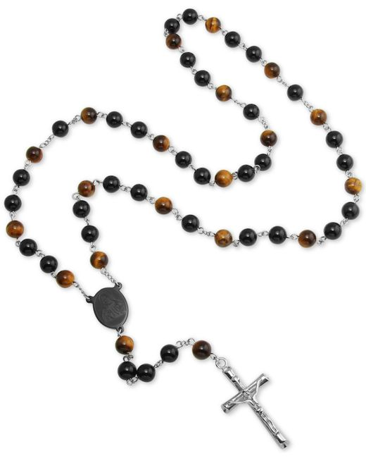 "Macy's - Metallic Tiger' Eye (5mm) And Black Agate Stone Cross 28"" Lariat Necklace In Stainless Steel - Lyst"