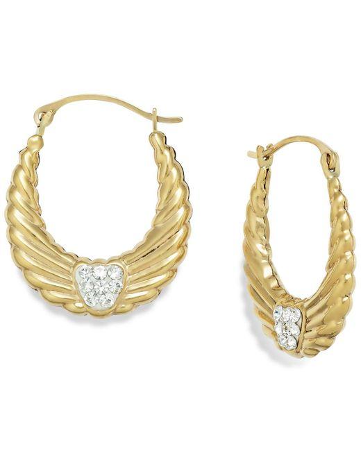 Macy's - Metallic Crystal Wing Hoop Earrings In 10k Gold - Lyst