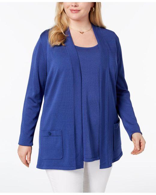 Anne Klein - Blue Plus Size Cardigan & Tank Top - Lyst