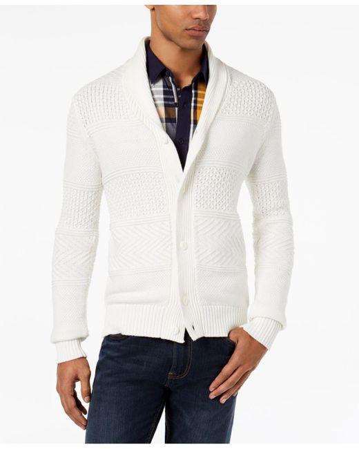 Sean John | White Men's Textured Cardigan for Men | Lyst