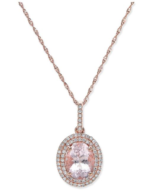 Macy's - Metallic Morganite (1-1/2 Ct. T.w.) And Diamond (1/5 Ct. T.w.) Oval Pendant Necklace In 14k Rose Gold - Lyst