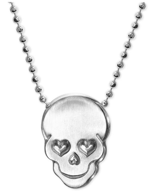 Alex Woo - Metallic Love Skull Beaded Pendant Necklace In Sterling Silver - Lyst