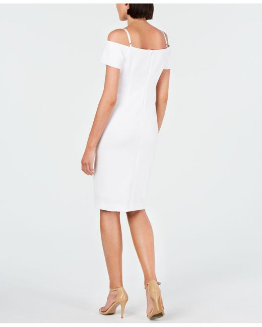 cf50ce4a633 ... Calvin Klein - White Lace-trim Off-the-shoulder Dress - Lyst ...