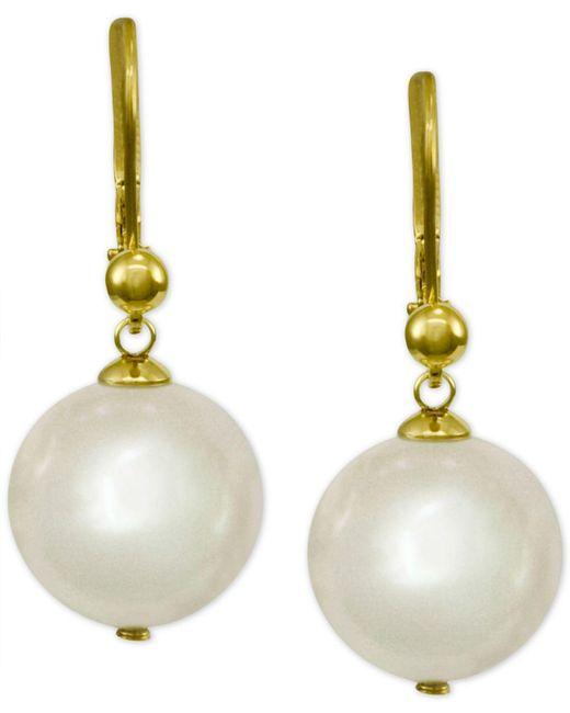 Majorica - Metallic 18k Vermeil Imitation Pearl Drop Earrings - Lyst