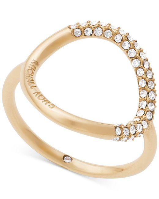 Michael Kors   Metallic Pavé Crystal Open Circle Statement Ring   Lyst