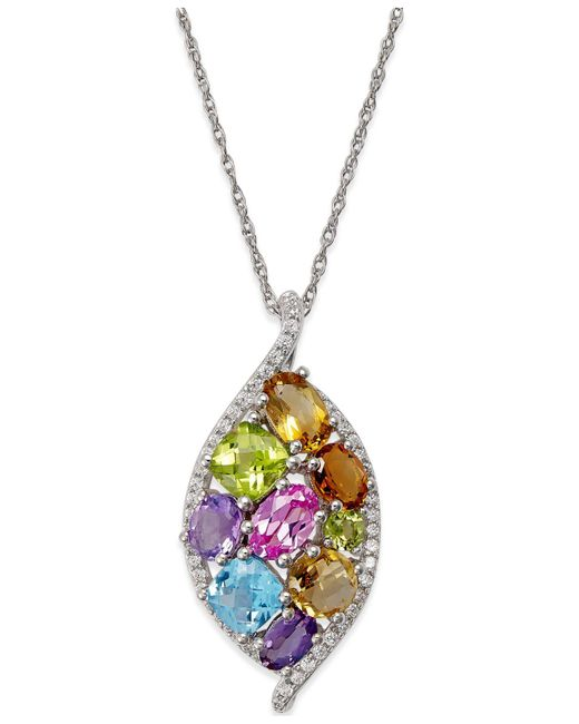 Macy's | Metallic Multicolor Gemstone (3-3/4 Ct. T.w.) Pendant Necklace In 14k White Gold | Lyst