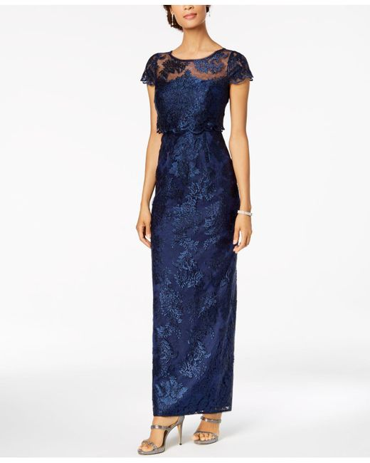 Adrianna Papell - Blue Tiered Lace Gown - Lyst