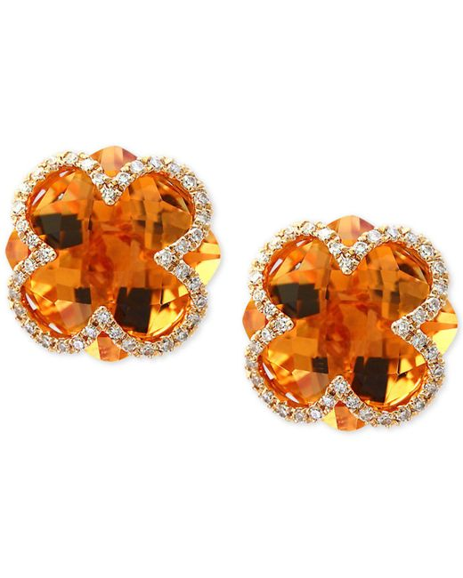 Effy Collection - Orange Citrine (7-1/10 Ct. T.w.) & Diamond (1/5 Ct. T.w.) Clover Earrings In 14k Gold - Lyst