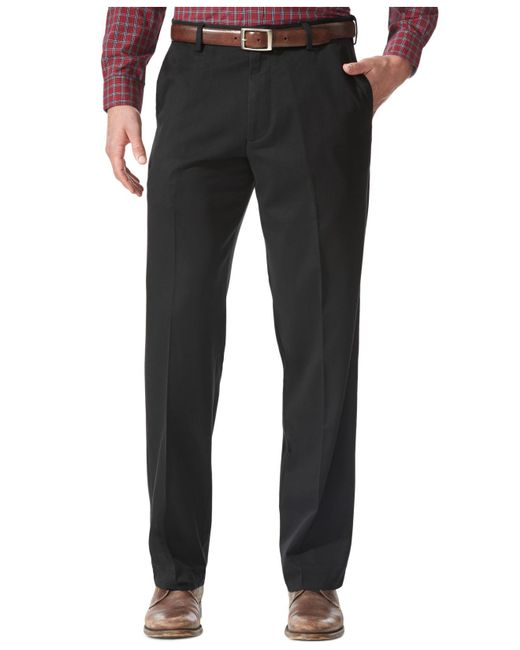 Dockers - Black Relaxed Fit Comfort Khaki Flat Front Pants for Men - Lyst