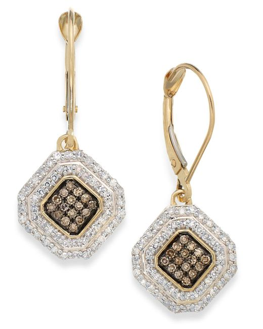 Wrapped in Love - Black White And Champagne Diamond Leverback Earrings In 14k Gold (1/2 Ct. T.w.) - Lyst