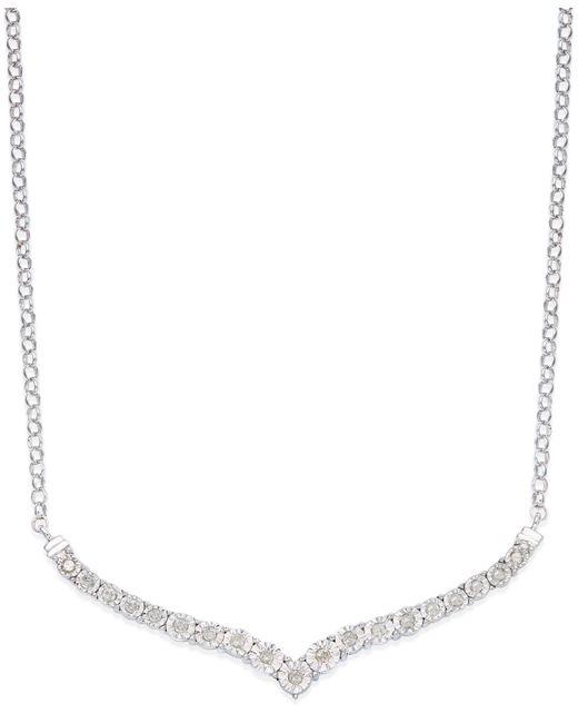 Macy's | Metallic Diamond V Necklace In Sterling Silver (1/4 Ct. T.w.) | Lyst
