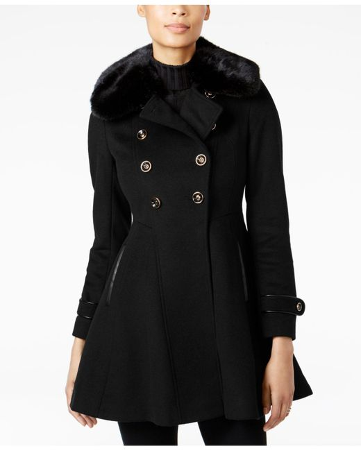 Via Spiga | Black Faux-fur-collar Skirted Peacoat | Lyst
