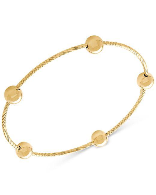 Macy's - Metallic Beaded Twist Bangle Bracelet In 14k Gold - Lyst