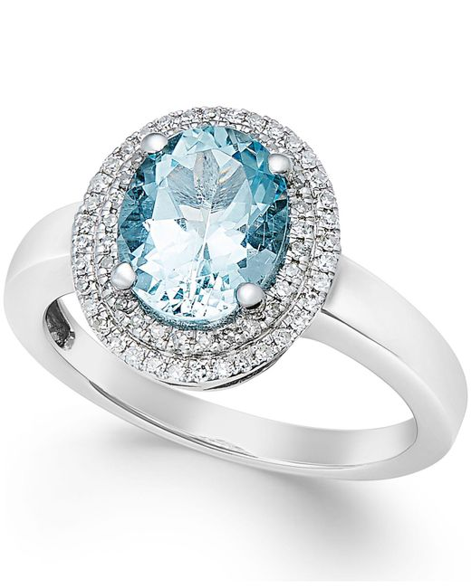Macy's - Blue Aquamarine (1-1/2 Ct. T.w.) And Diamond (1/5 Ct. T.w.) Ring In 14k White Gold - Lyst