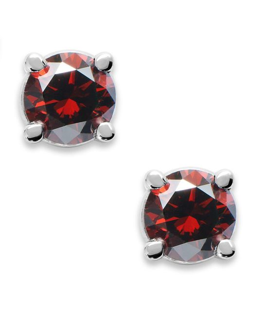 Macy's - 10k White Gold Red Diamond Round Stud Earrings (1/5 Ct. T.w.) - Lyst