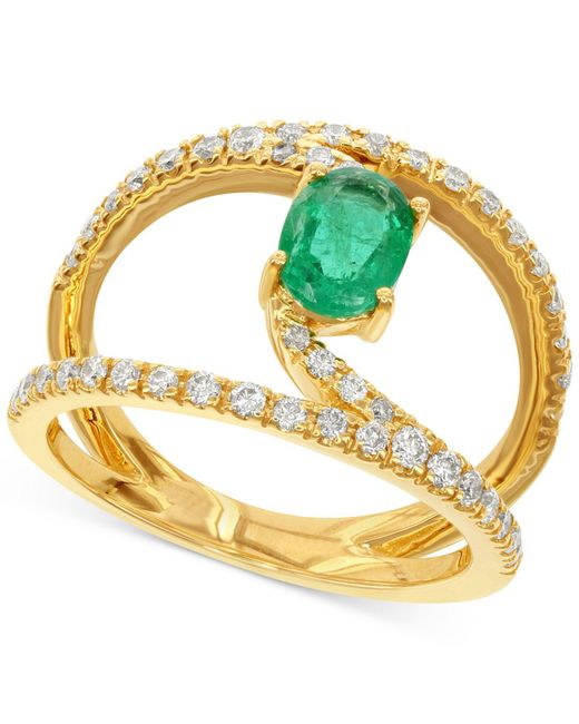 Macy's - Green Emerald (7/8 Ct. T.w.) And Diamond (1/2 Ct. T.w.) Ring In 14k Gold - Lyst