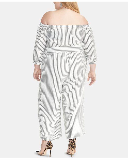 8631bcbb1a6 ... RACHEL Rachel Roy - Black Plus Size Striped Off-the-shoulder Jumpsuit -  Lyst