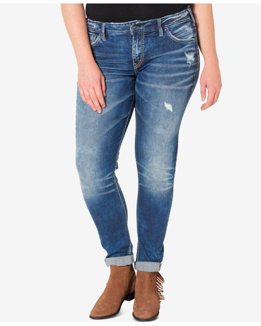 Silver Jeans Co. - Blue Plus Size Indigo Wash Ripped Girlfriend Jeans - Lyst