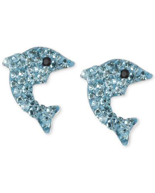 Betsey Johnson - Silver-tone Blue Pavé Dolphin Stud Earrings - Lyst
