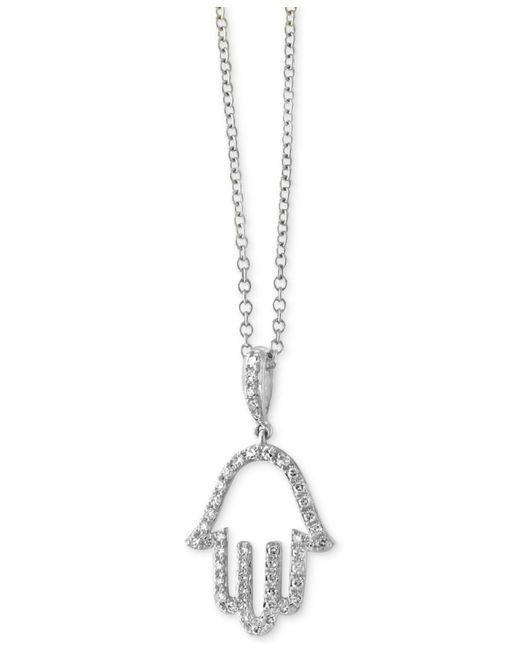 Effy Collection - Metallic Diamond Hamsa Hand Pendant Necklace (1/5 Ct. T.w.) In 14k White Gold - Lyst