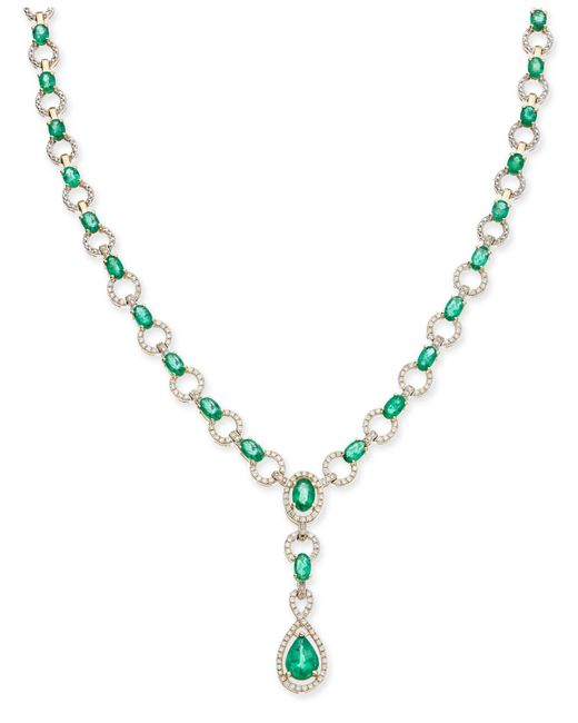 Macy's - Metallic Emerald (9 Ct. T.w.) And Diamond (1 Ct. T.w.) Fancy Collar Necklace In 14k Gold - Lyst
