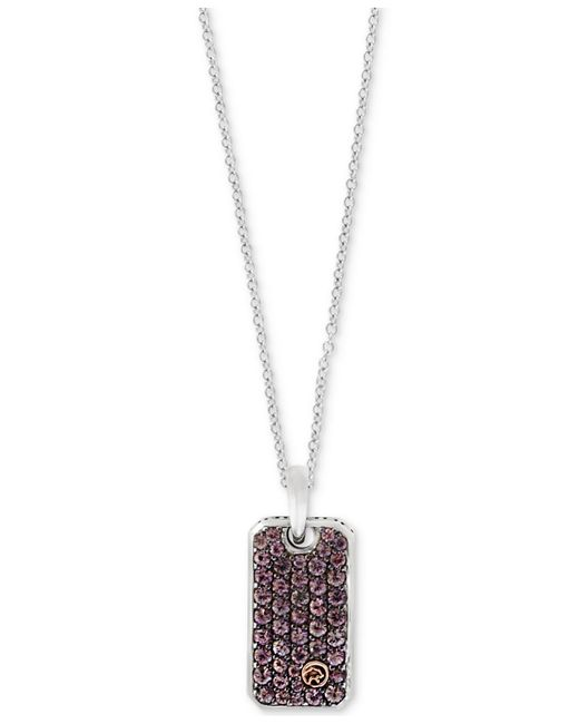 Effy Collection | Metallic Men's Brown Sapphire Dog Tag Pendant Necklace (1-1/3 Ct. T.w.) In Sterling Silver & 18k Gold for Men | Lyst