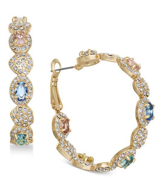Joan Boyce - Metallic Gold-tone Multi-stone Scalloped Hoop Earrings - Lyst