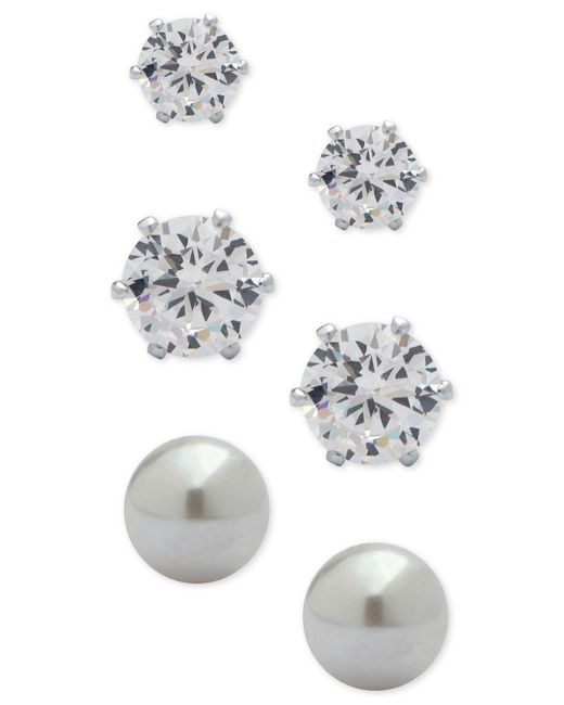 Anne Klein - Metallic 3-pc. Set Crystal And Imitation Pearl Stud Earrings - Lyst