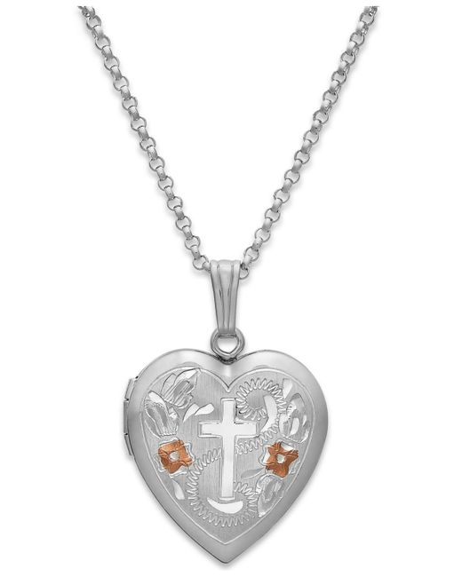 Macy's - Metallic Painted Cross Heart Locket Necklace In Sterling Silver - Lyst