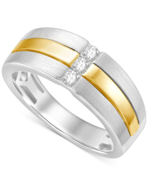 Macy's - Metallic Men's Diamond Two-tone Ring (1/4 Ct. T.w.) In 10k White And Yellow Gold for Men - Lyst